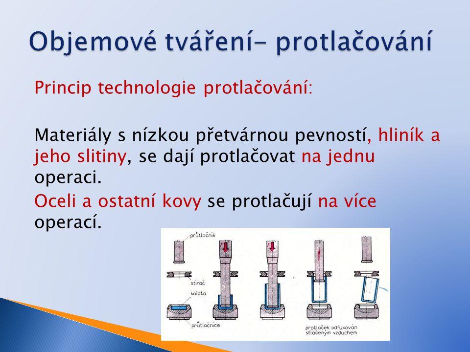 Princip technologie protlačování: Materiály s nízkou přetvárnou pevností, hliník a jeho slitiny, se dají protlačovat na jednu operaci. Oceli a ostatní