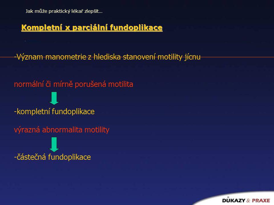 Kompletní x parciální fundoplikace U obou výsledky srovnatelné z hlediska zbavení pacientů symptomů refluxu Vedlejší účinky -Gas – bloat syndrom -Dysfagie -Meteorismus -Excesivní flatulence -vyskytují se méně u parciální fundoplikace