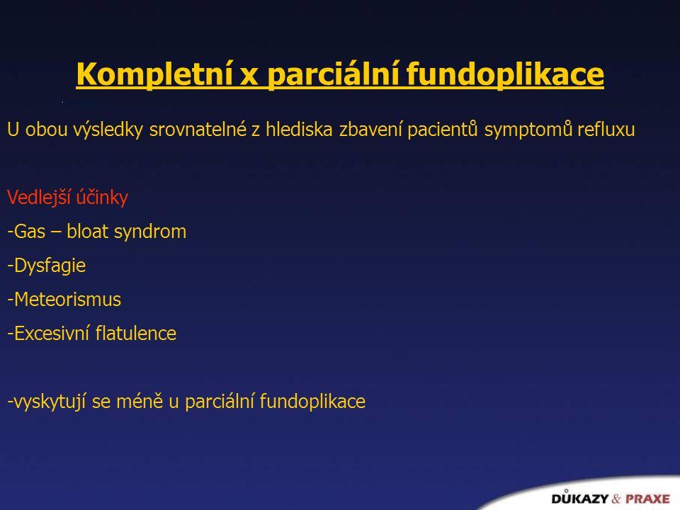 Kompletní x parciální fundoplikace U obou výsledky srovnatelné z hlediska zbavení pacientů symptomů refluxu Vedlejší účinky -Gas – bloat syndrom -Dysf