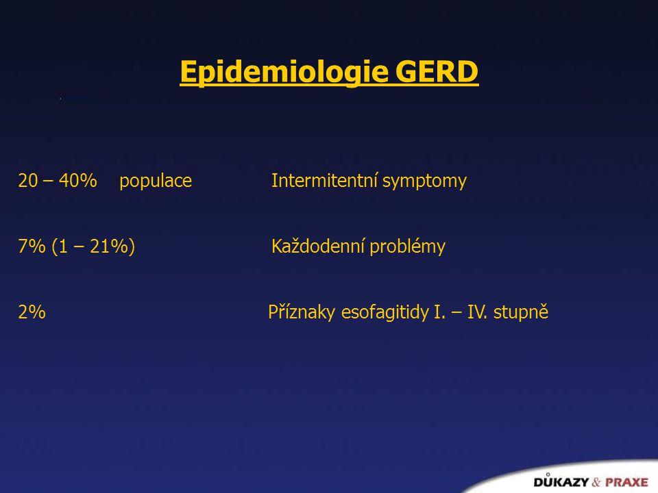 Epidemiologie GERD 20 – 40% populace Intermitentní symptomy 7% (1 – 21%) Každodenní problémy 2% Příznaky esofagitidy I. – IV. stupně