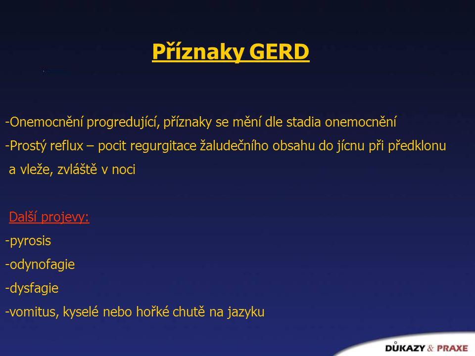 Příznaky GERD -Onemocnění progredující, příznaky se mění dle stadia onemocnění -Prostý reflux – pocit regurgitace žaludečního obsahu do jícnu při před