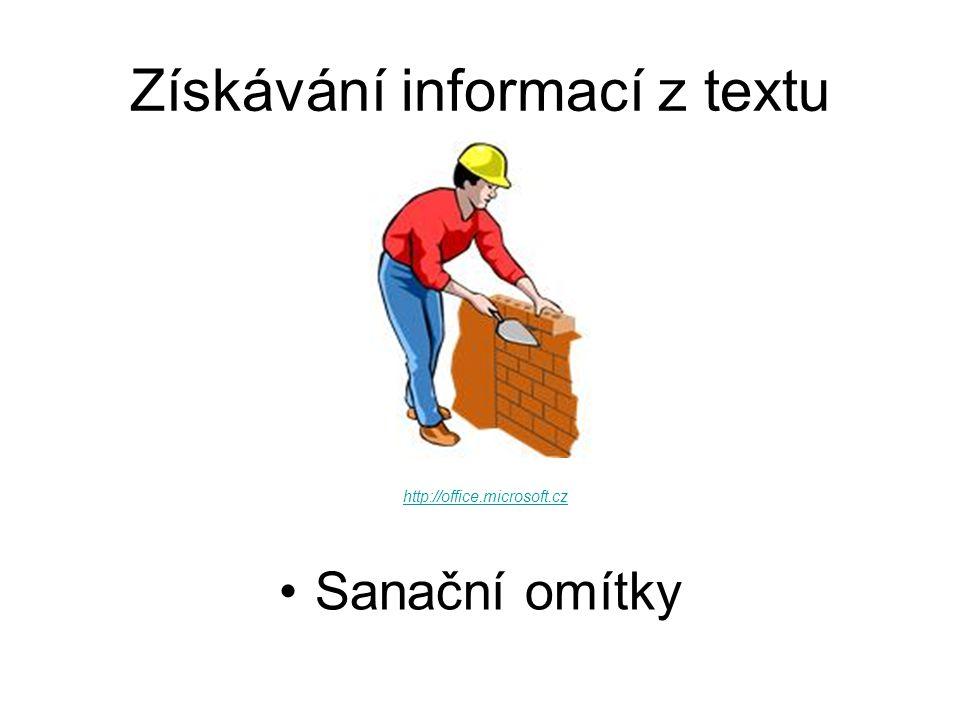 Uvedení do situace Vaším úkolem je prostudovat odborný text Sanační omítky.