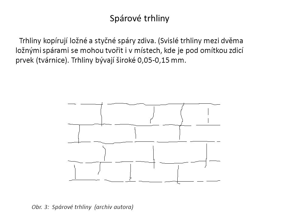 Spárové trhliny Trhliny kopírují ložné a styčné spáry zdiva. (Svislé trhliny mezi dvěma ložnými spárami se mohou tvořit i v místech, kde je pod omítko