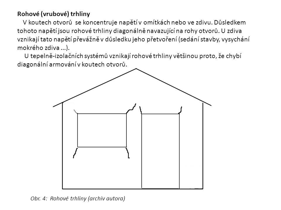 Rohové (vrubové) trhliny V koutech otvorů se koncentruje napětí v omítkách nebo ve zdivu. Důsledkem tohoto napětí jsou rohové trhliny diagonálně navaz