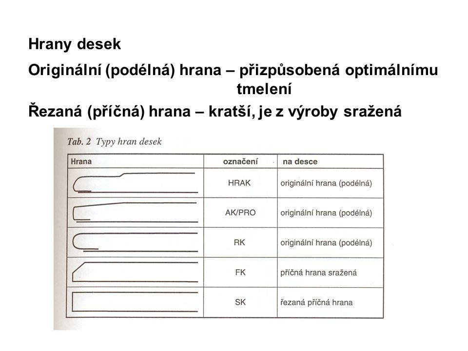 Hrany desek Originální (podélná) hrana – přizpůsobená optimálnímu tmelení Řezaná (příčná) hrana – kratší, je z výroby sražená