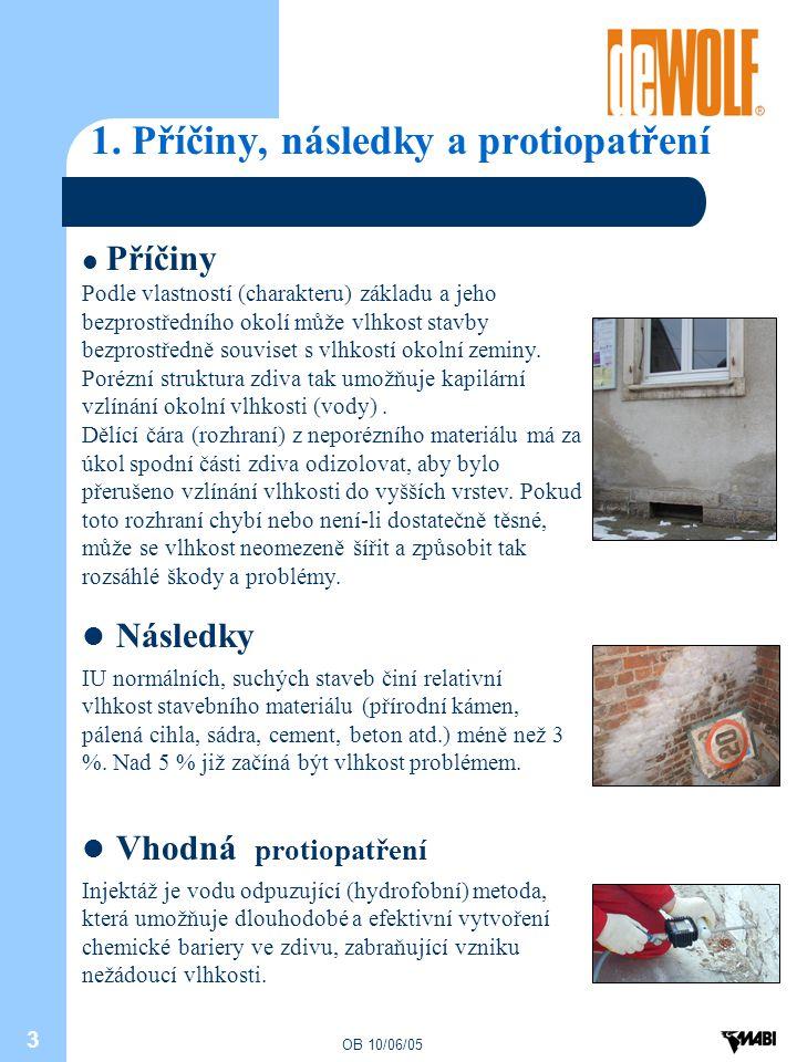 OB 10/06/05 3 1. Příčiny, následky a protiopatření Příčiny Podle vlastností (charakteru) základu a jeho bezprostředního okolí může vlhkost stavby bezp