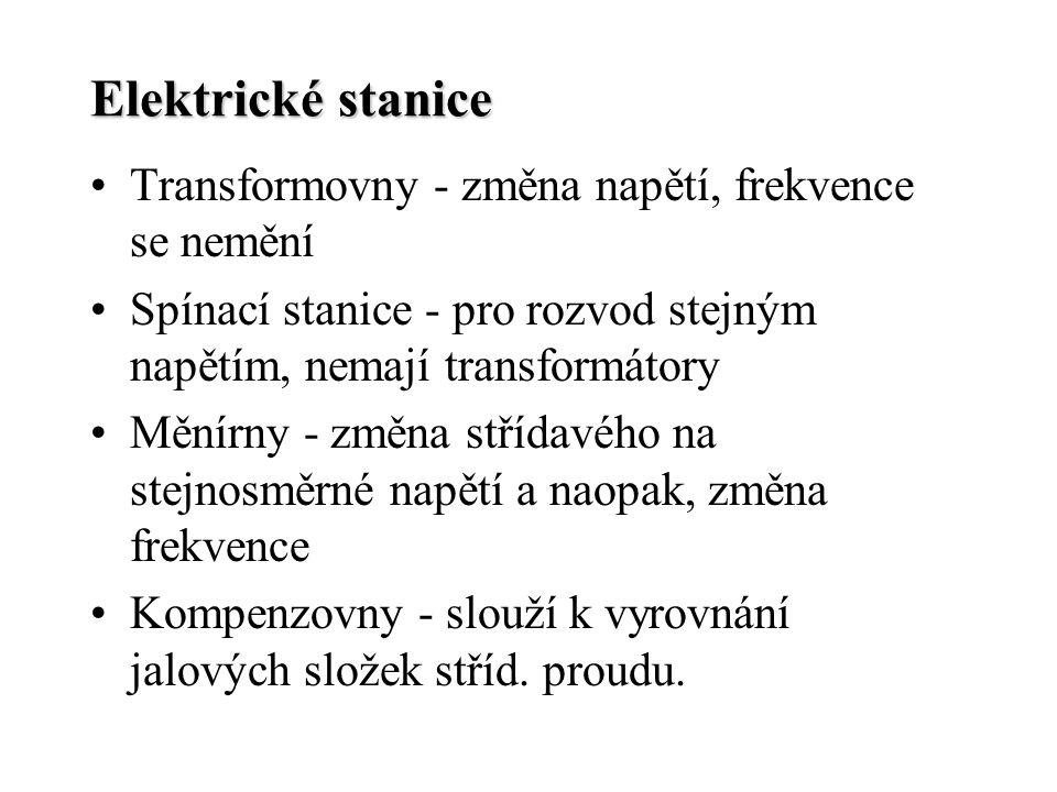 Elektrické stanice Transformovny - změna napětí, frekvence se nemění Spínací stanice - pro rozvod stejným napětím, nemají transformátory Měnírny - změ