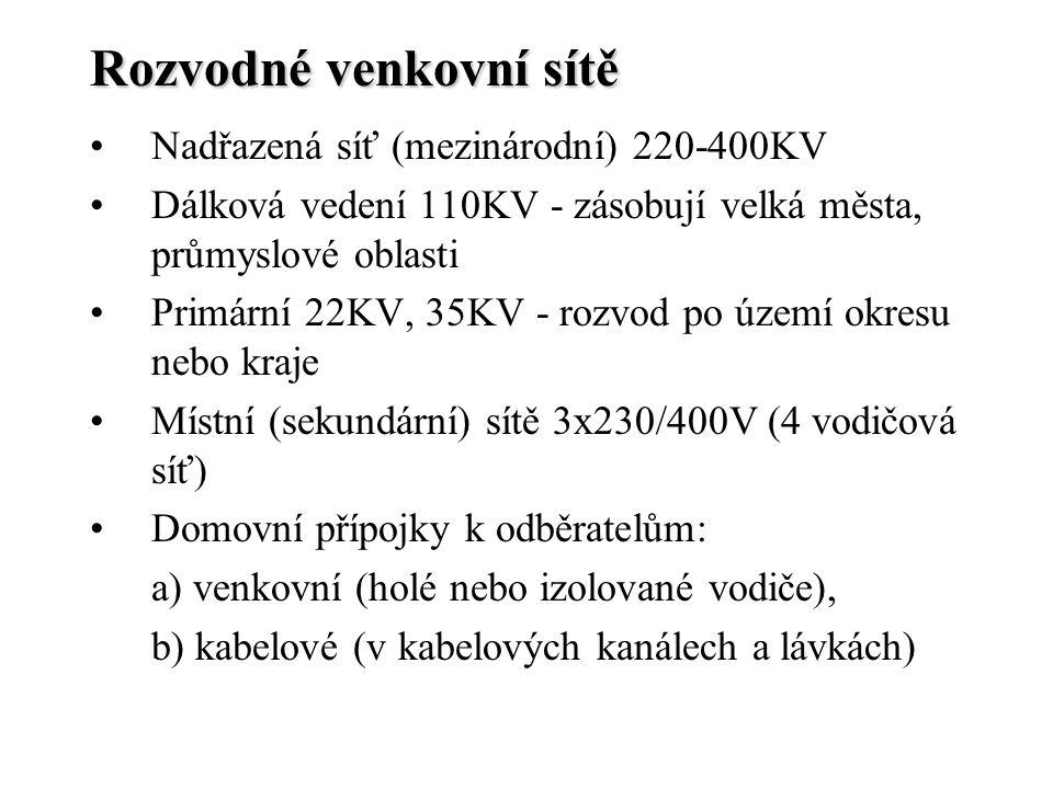 Rozvodné venkovní sítě Nadřazená síť (mezinárodní) 220-400KV Dálková vedení 110KV - zásobují velká města, průmyslové oblasti Primární 22KV, 35KV - roz