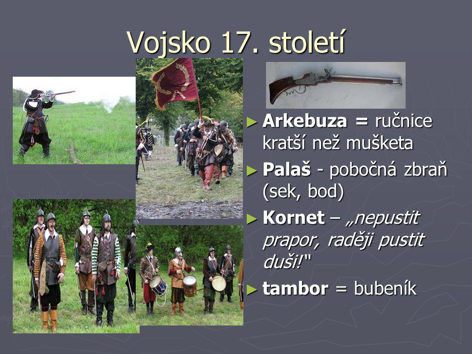 """Vojsko 17. století ► Arkebuza = ručnice kratší než mušketa ► Palaš - pobočná zbraň (sek, bod) ► Kornet – """"nepustit prapor, raději pustit duši!"""" ► tamb"""