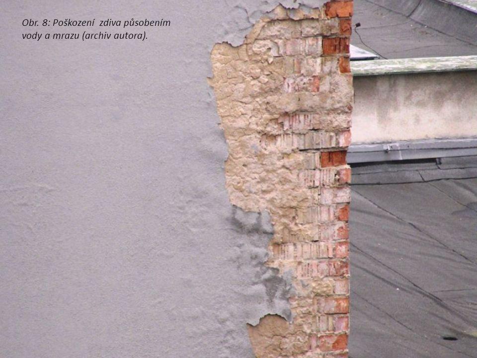 Obr. 8: Poškození zdiva působením vody a mrazu (archiv autora).