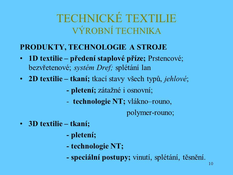 10 TECHNICKÉ TEXTILIE VÝROBNÍ TECHNIKA PRODUKTY, TECHNOLOGIE A STROJE 1D textilie – předení staplové příze; Prstencové; bezvřetenové; systém Dref; spl