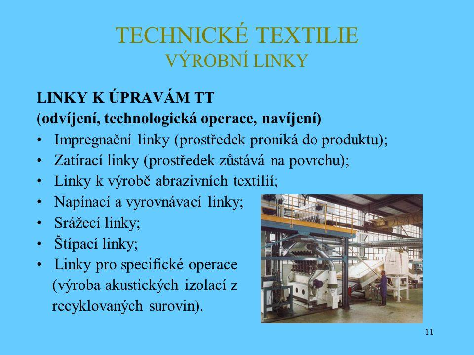 11 TECHNICKÉ TEXTILIE VÝROBNÍ LINKY LINKY K ÚPRAVÁM TT (odvíjení, technologická operace, navíjení) Impregnační linky (prostředek proniká do produktu);