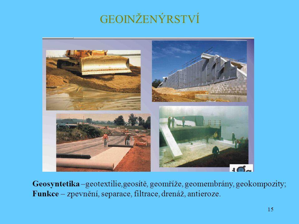 15 GEOINŽENÝRSTVÍ Geosyntetika –geotextilie,geosítě, geomříže, geomembrány, geokompozity; Funkce – zpevnění, separace, filtrace, drenáž, antieroze.