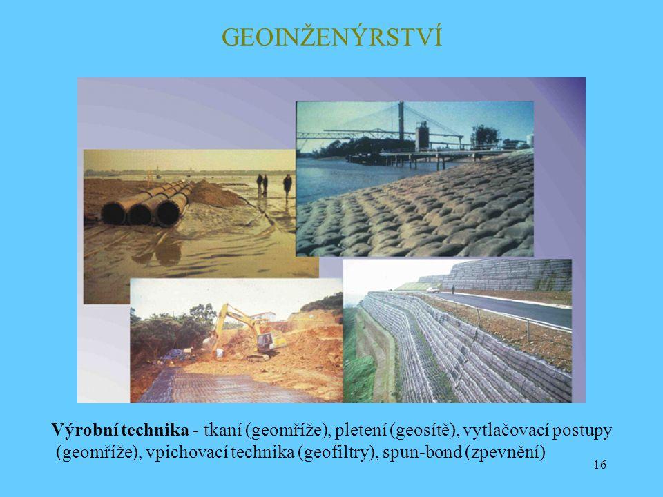 16 GEOINŽENÝRSTVÍ Výrobní technika - tkaní (geomříže), pletení (geosítě), vytlačovací postupy (geomříže), vpichovací technika (geofiltry), spun-bond (