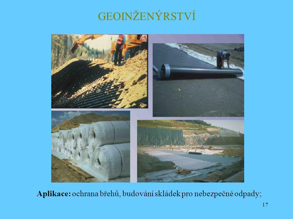 17 GEOINŽENÝRSTVÍ Aplikace: ochrana břehů, budování skládek pro nebezpečné odpady;