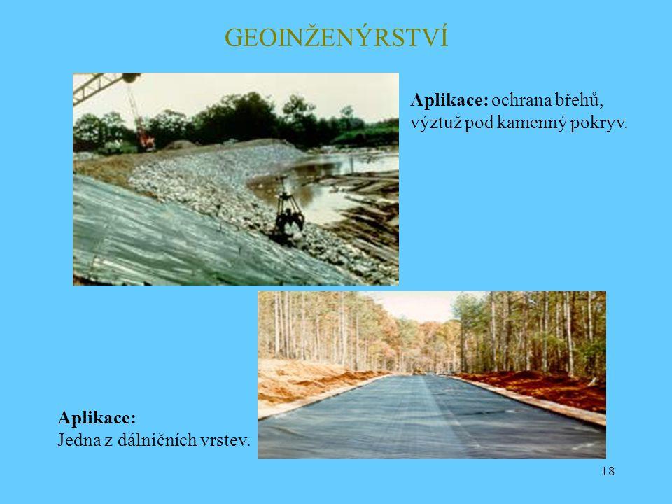 18 GEOINŽENÝRSTVÍ Aplikace: ochrana břehů, výztuž pod kamenný pokryv. Aplikace: Jedna z dálničních vrstev.