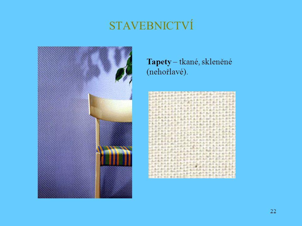 22 STAVEBNICTVÍ Tapety – tkané, skleněné (nehořlavé).