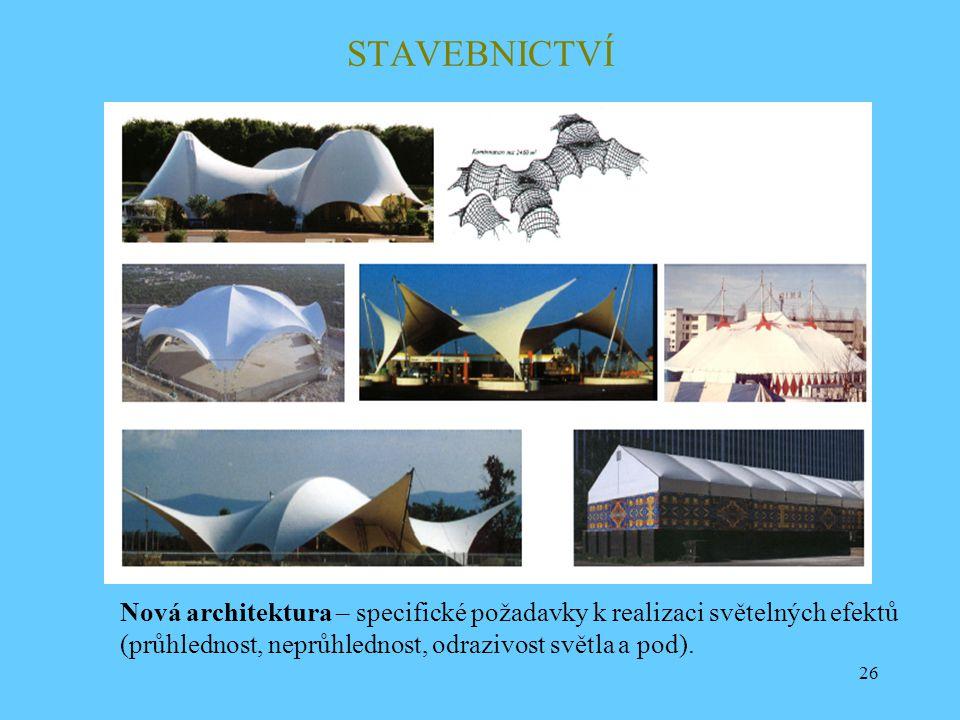26 STAVEBNICTVÍ Nová architektura – specifické požadavky k realizaci světelných efektů (průhlednost, neprůhlednost, odrazivost světla a pod).