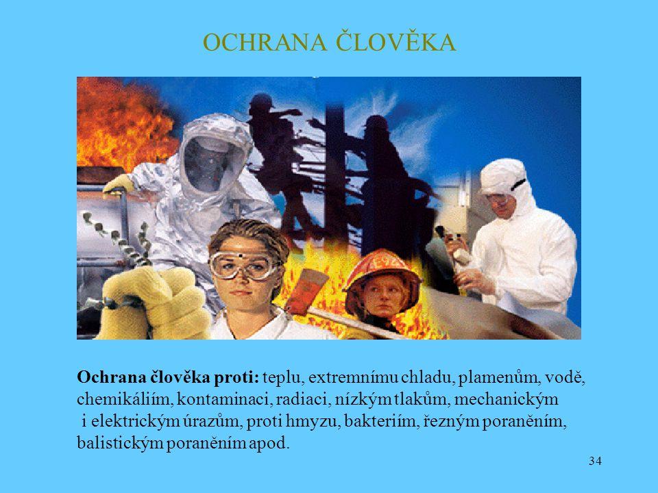 34 OCHRANA ČLOVĚKA Ochrana člověka proti: teplu, extremnímu chladu, plamenům, vodě, chemikáliím, kontaminaci, radiaci, nízkým tlakům, mechanickým i el