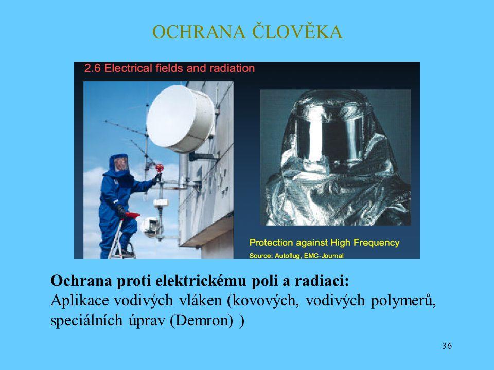 36 OCHRANA ČLOVĚKA Ochrana proti elektrickému poli a radiaci: Aplikace vodivých vláken (kovových, vodivých polymerů, speciálních úprav (Demron) )