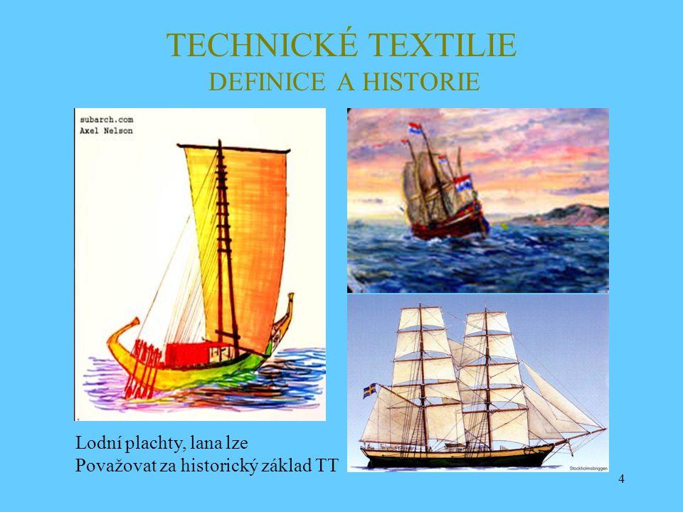 4 TECHNICKÉ TEXTILIE DEFINICE A HISTORIE Lodní plachty, lana lze Považovat za historický základ TT