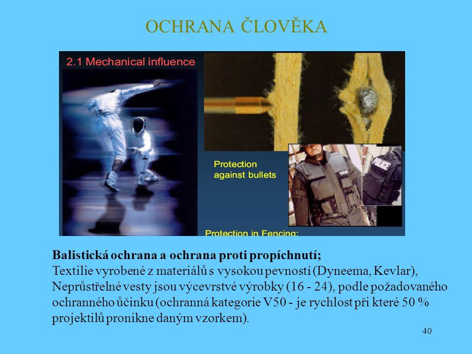 40 OCHRANA ČLOVĚKA Balistická ochrana a ochrana proti propíchnutí; Textilie vyrobené z materiálů s vysokou pevností (Dyneema, Kevlar), Neprůstřelné ve