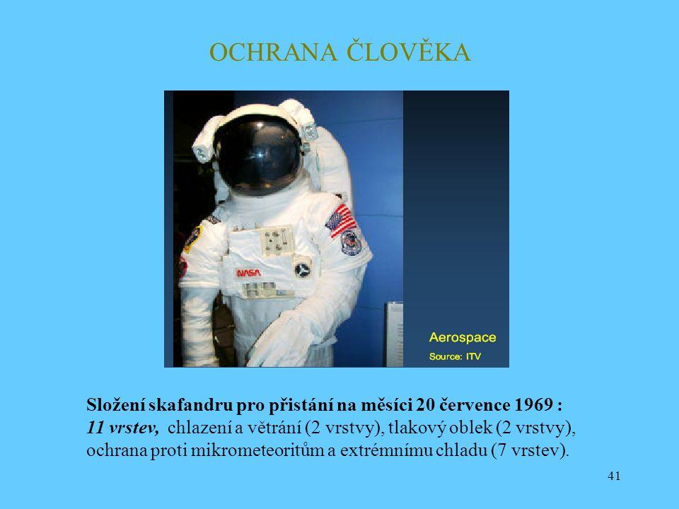 41 OCHRANA ČLOVĚKA Složení skafandru pro přistání na měsíci 20 července 1969 : 11 vrstev, chlazení a větrání (2 vrstvy), tlakový oblek (2 vrstvy), och