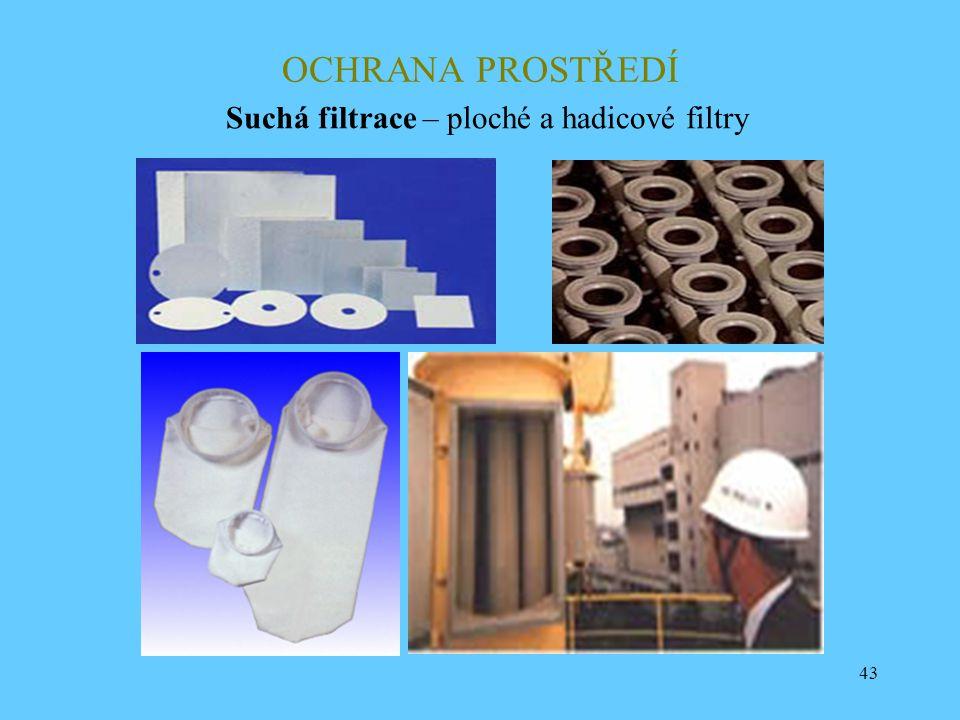 43 OCHRANA PROSTŘEDÍ Suchá filtrace – ploché a hadicové filtry