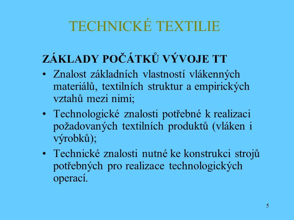 5 TECHNICKÉ TEXTILIE ZÁKLADY POČÁTKŮ VÝVOJE TT Znalost základních vlastností vlákenných materiálů, textilních struktur a empirických vztahů mezi nimi;