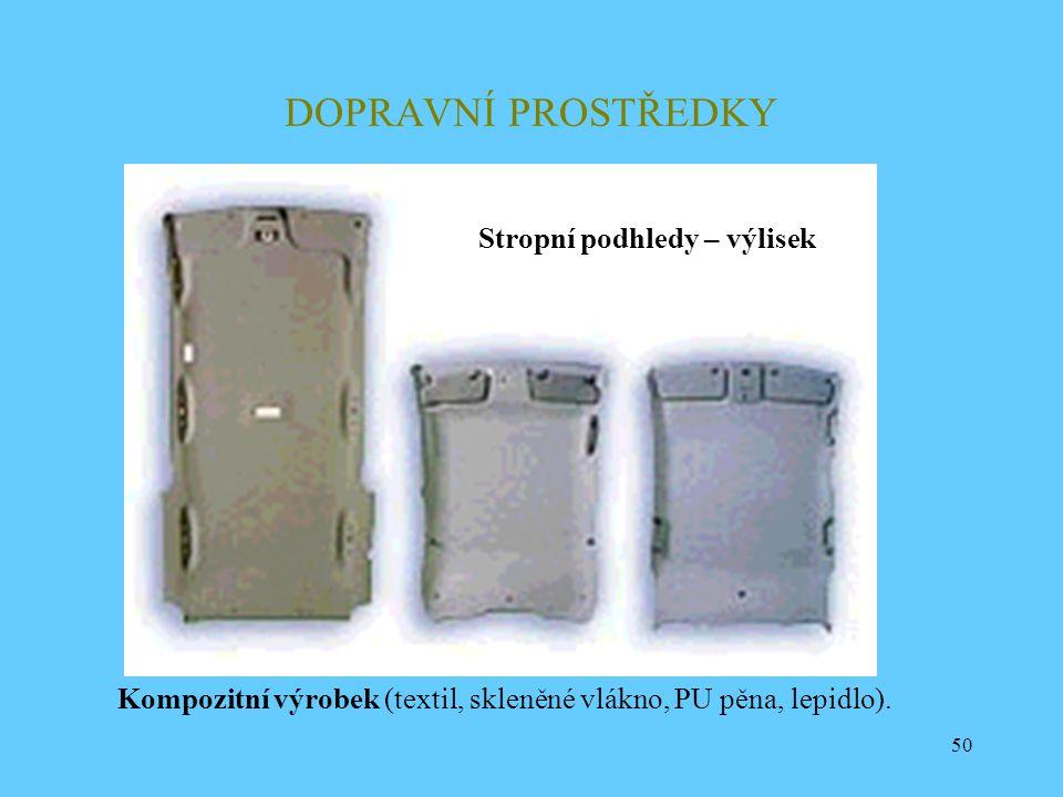 50 DOPRAVNÍ PROSTŘEDKY Kompozitní výrobek (textil, skleněné vlákno, PU pěna, lepidlo). Stropní podhledy – výlisek