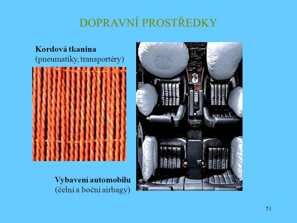 51 DOPRAVNÍ PROSTŘEDKY Kordová tkanina (pneumatiky, transportéry) Vybavení automobilu (čelní a boční airbagy)
