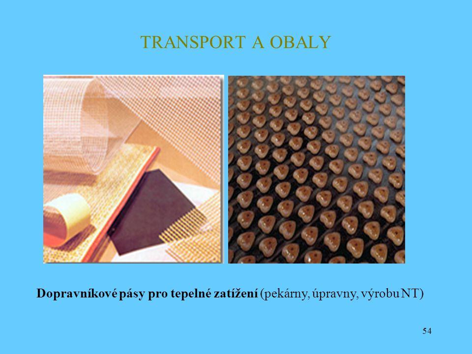 54 TRANSPORT A OBALY Dopravníkové pásy pro tepelné zatížení (pekárny, úpravny, výrobu NT)