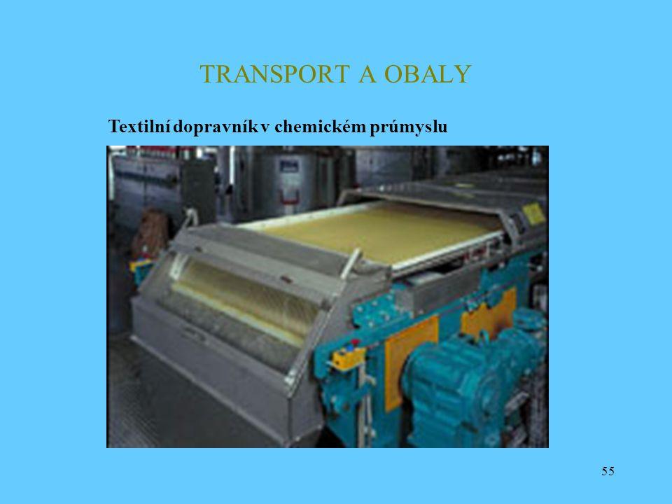 55 TRANSPORT A OBALY Textilní dopravník v chemickém prúmyslu