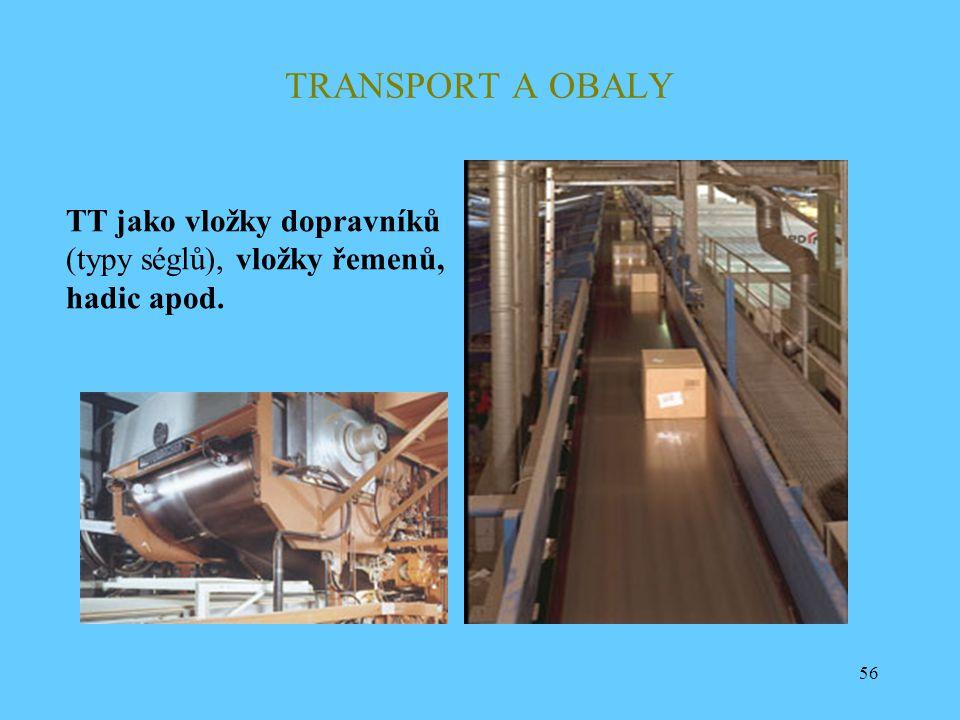 56 TRANSPORT A OBALY TT jako vložky dopravníků (typy séglů), vložky řemenů, hadic apod.