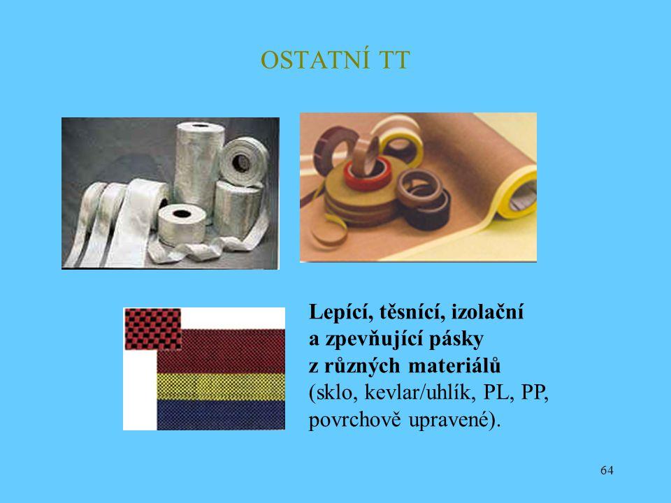 64 OSTATNÍ TT Lepící, těsnící, izolační a zpevňující pásky z různých materiálů (sklo, kevlar/uhlík, PL, PP, povrchově upravené).