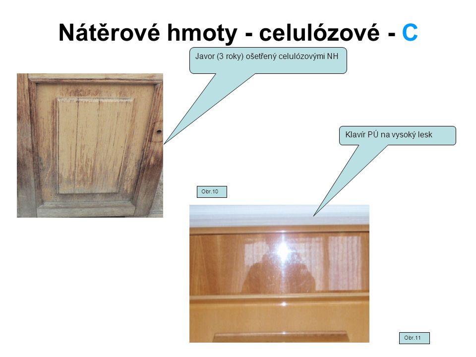Nátěrové hmoty - celulózové - C Javor (3 roky) ošetřený celulózovými NH Klavír PÚ na vysoký lesk Obr.10 Obr.11