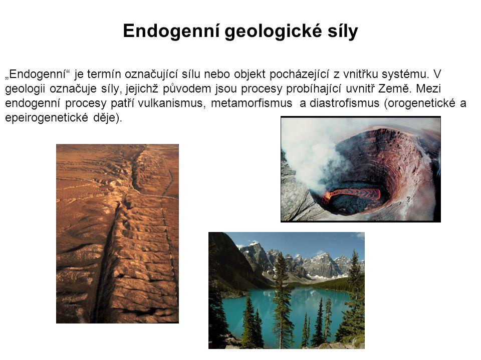 """Endogenní geologické síly """"Endogenní je termín označující sílu nebo objekt pocházející z vnitřku systému."""