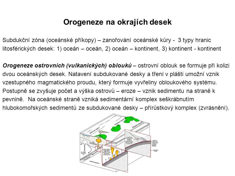 Orogeneze na okrajích desek Subdukční zóna (oceánské příkopy) – zanořování oceánské kůry - 3 typy hranic litosférických desek: 1) oceán – oceán, 2) oceán – kontinent, 3) kontinent - kontinent Orogeneze ostrovních (vulkanických) oblouků – ostrovní oblouk se formuje při kolizi dvou oceánských desek.