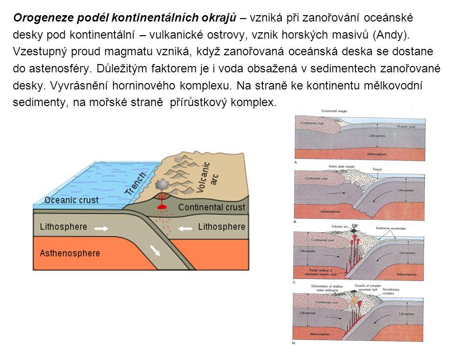 Orogeneze podél kontinentálních okrajů – vzniká při zanořování oceánské desky pod kontinentální – vulkanické ostrovy, vznik horských masivů (Andy).
