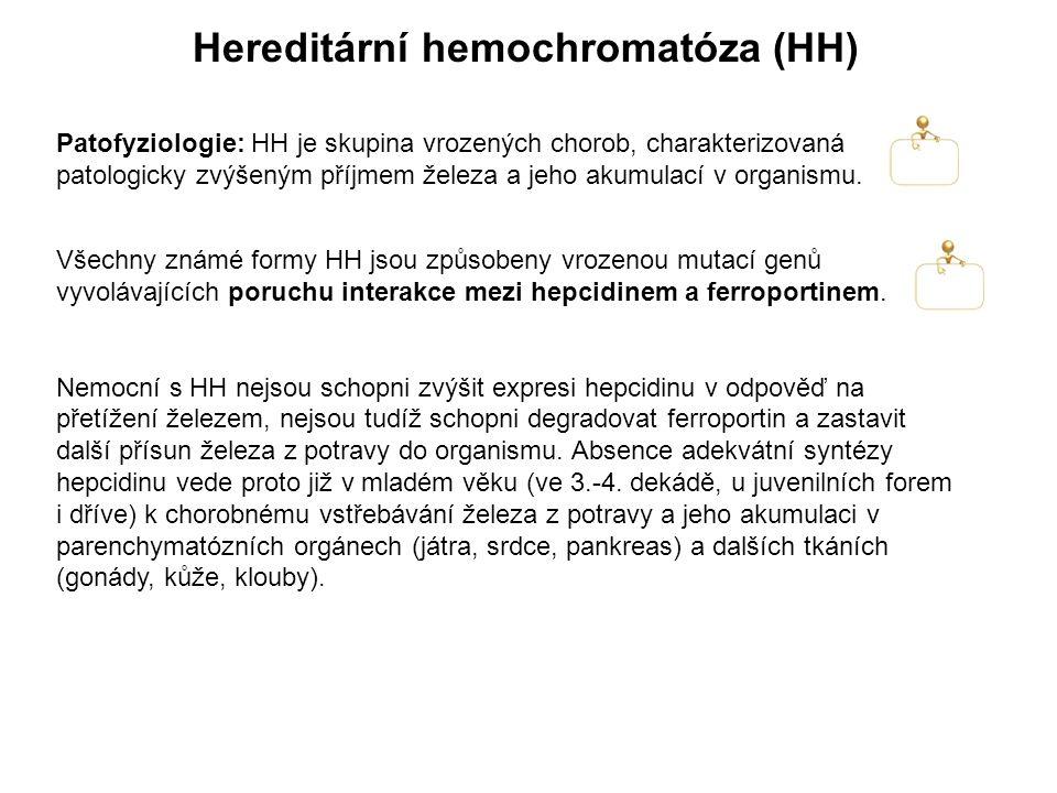 Hereditární hemochromatóza (HH) Patofyziologie: HH je skupina vrozených chorob, charakterizovaná patologicky zvýšeným příjmem železa a jeho akumulací v organismu.