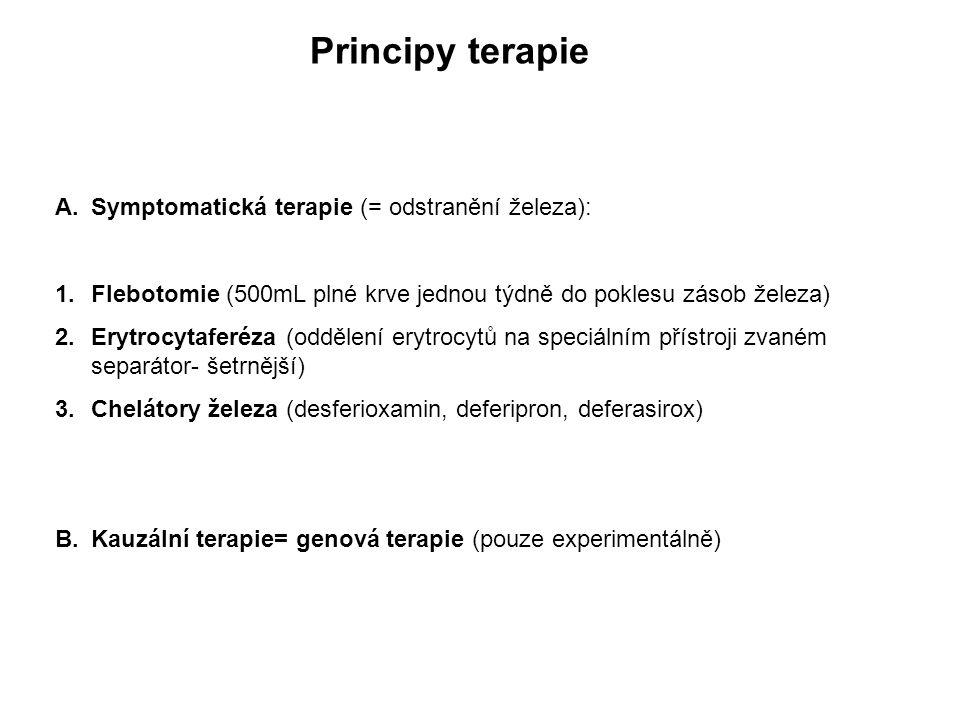 Principy terapie A.Symptomatická terapie (= odstranění železa): 1.Flebotomie (500mL plné krve jednou týdně do poklesu zásob železa) 2.Erytrocytaferéza (oddělení erytrocytů na speciálním přístroji zvaném separátor- šetrnější) 3.Chelátory železa (desferioxamin, deferipron, deferasirox) B.