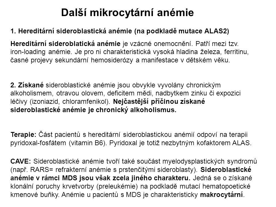 Další mikrocytární anémie 1.