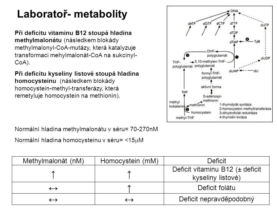 Laboratoř- metabolity Normální hladina methylmalonátu v séru= 70-270nM Normální hladina homocysteinu v séru= <15  M Methylmalonát (nM)Homocystein (mM)Deficit ↑↑ Deficit vitaminu B12 (± deficit kyseliny listové) ↔↑ Deficit folátu ↔↔ Deficit nepravděpodobný Při deficitu vitaminu B12 stoupá hladina methylmalonátu (následkem blokády methylmalonyl-CoA-mutázy, která katalyzuje transformaci mehylmalonát-CoA na sukcinyl- CoA).
