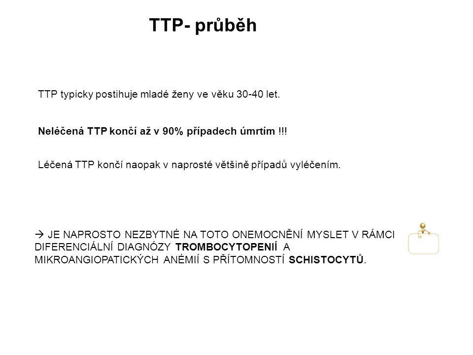 TTP- průběh Neléčená TTP končí až v 90% případech úmrtím !!.