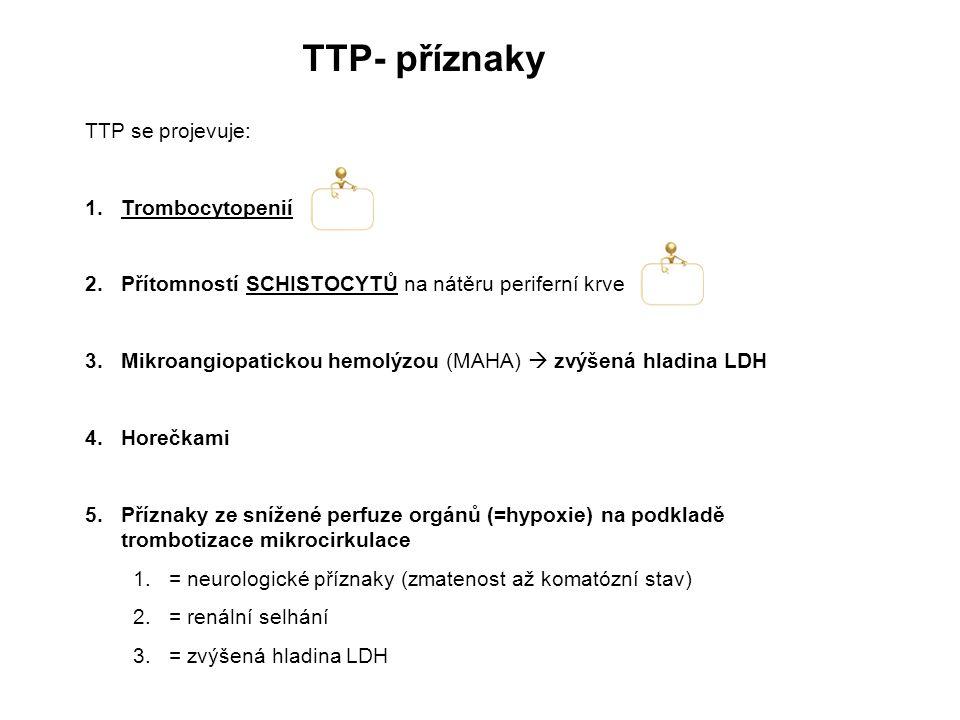 TTP- příznaky TTP se projevuje: 1.Trombocytopenií 2.Přítomností SCHISTOCYTŮ na nátěru periferní krve 3.Mikroangiopatickou hemolýzou (MAHA)  zvýšená hladina LDH 4.Horečkami 5.Příznaky ze snížené perfuze orgánů (=hypoxie) na podkladě trombotizace mikrocirkulace 1.= neurologické příznaky (zmatenost až komatózní stav) 2.= renální selhání 3.= zvýšená hladina LDH