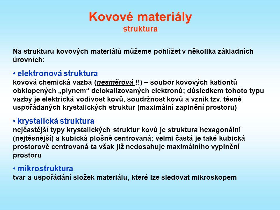 Na strukturu kovových materiálů můžeme pohlížet v několika základních úrovních: elektronová struktura kovová chemická vazba (nesměrová !!) – soubor ko