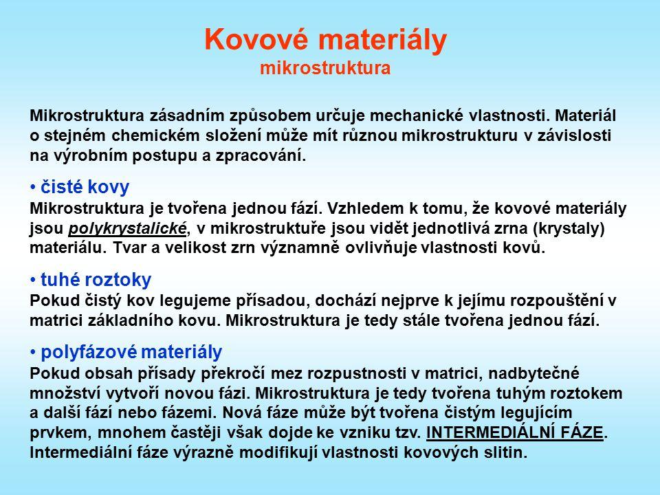 Kovové materiály mikrostruktura Mikrostruktura je tvořena jednou fází (bílé oblasti).