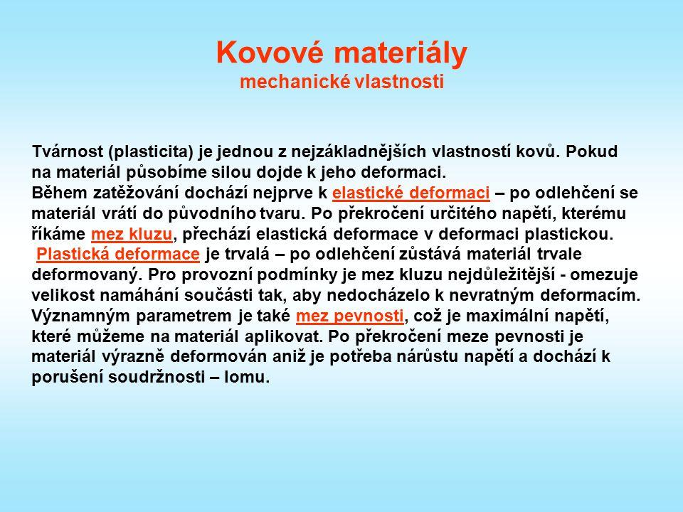 Kovové materiály mechanické vlastnosti Tvárnost (plasticita) je jednou z nejzákladnějších vlastností kovů. Pokud na materiál působíme silou dojde k je