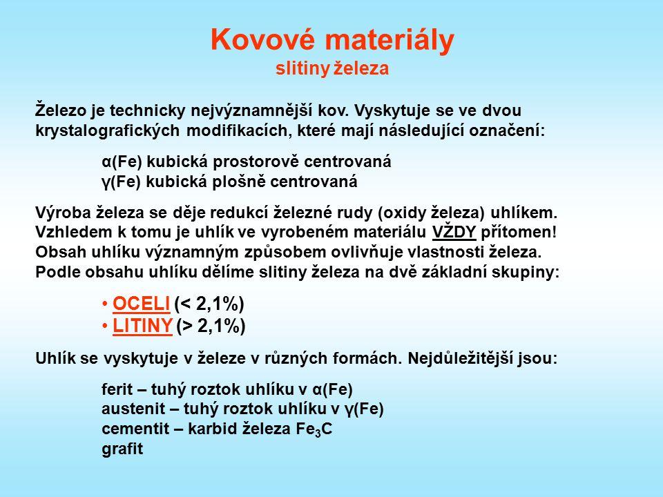 Kovové materiály slitiny železa Železo je technicky nejvýznamnější kov. Vyskytuje se ve dvou krystalografických modifikacích, které mají následující o