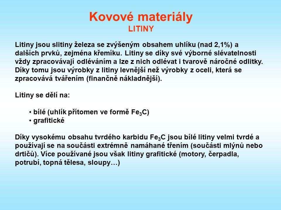 Kovové materiály LITINY Litiny jsou slitiny železa se zvýšeným obsahem uhlíku (nad 2,1%) a dalších prvků, zejména křemíku. Litiny se díky své výborné